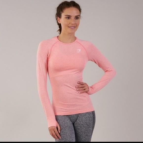439c551f15fff gymshark seamless long sleeve top peach pink marl